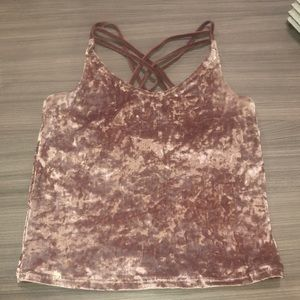 Crushed velvet top — rose color